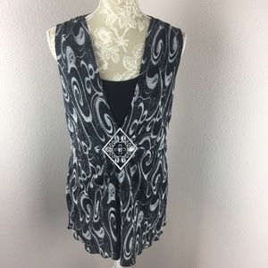 Notations tunic tank black white sequins large